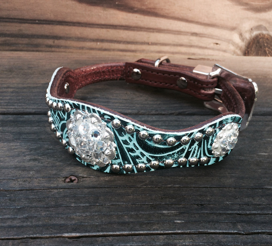Teal Filagree Scallop Dog Collar w/ Clear Rhinostone Bright Silver Conchos & Buckle