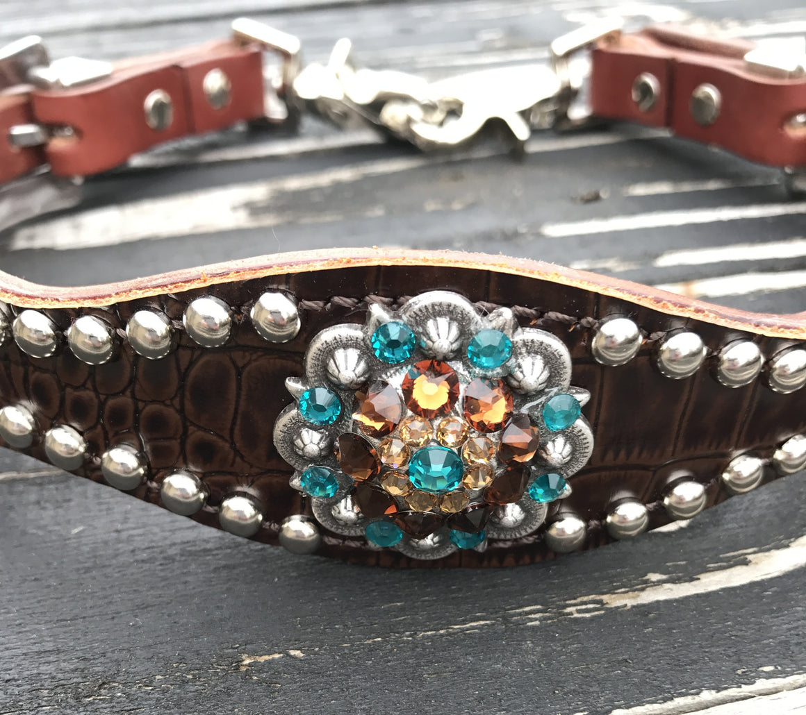 Dk Brown (Acorn) Gator Wither Strapw/Chestnut Leather/ Smoke Topaz, Teal, & Champagne Crystal Rhinestone Concho