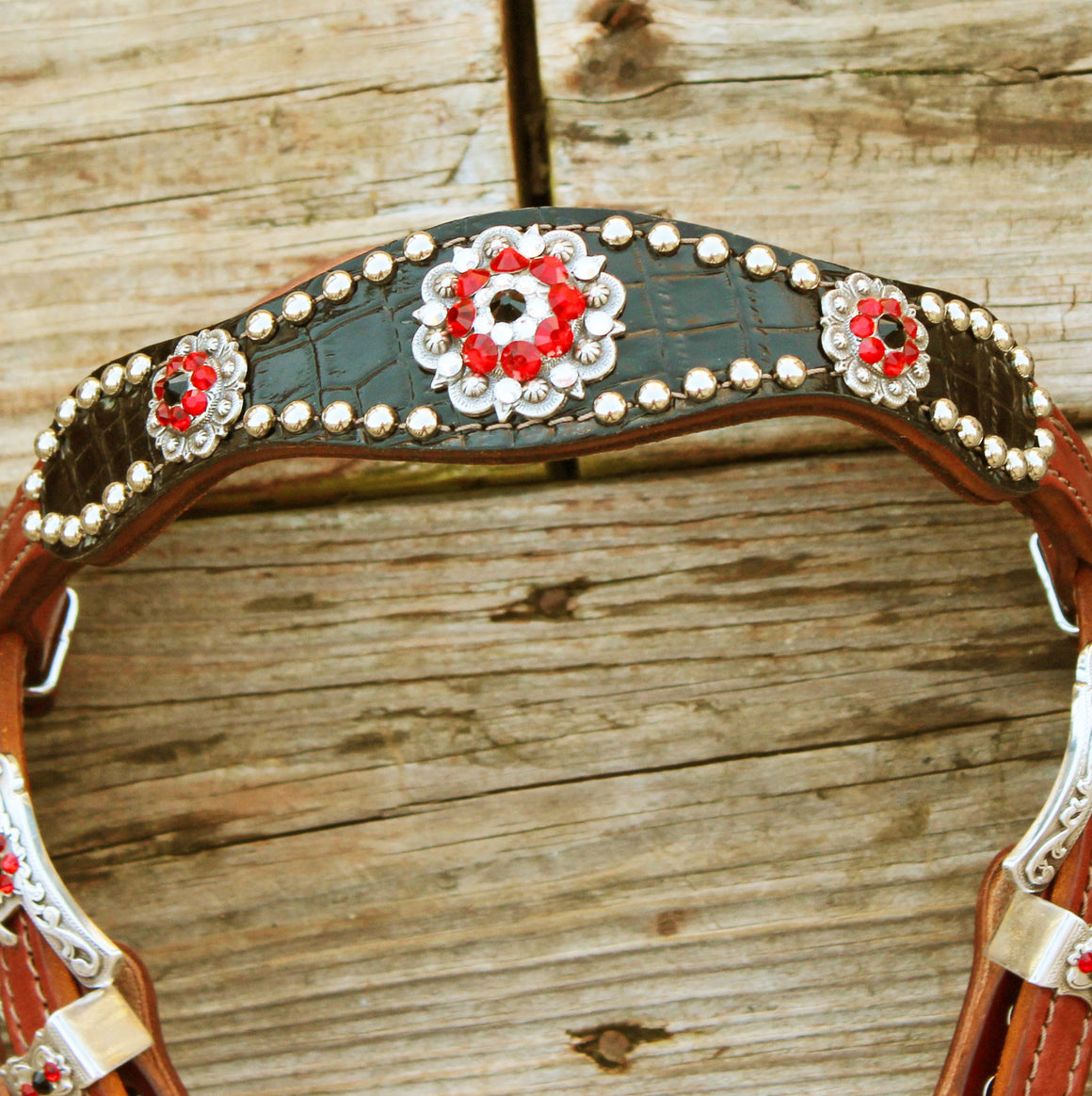 Black Gator/Chestnut Leather Browband Tack Set w/Clear,Red, Black Crystal Rhinestone Conchos