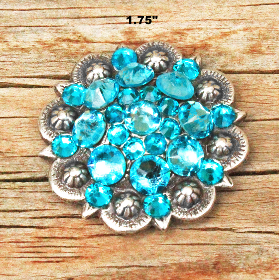 Teal & Turquoise Antique Silver Conchos & Buckles