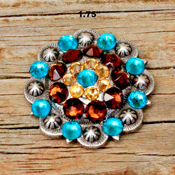 Teal & Smoke Topaz  Antique Silver Conchos & Buckles