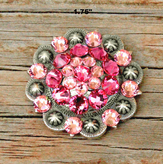 Pink & Lt.  Pink  Antique Silver Conchos & Buckles