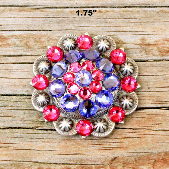 Purple & Fuchsia Antique Silver Conchos & Buckles