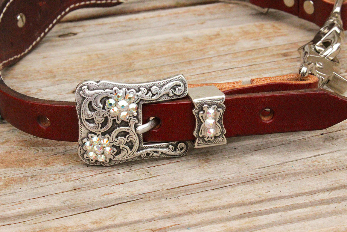 Teal Gator/Chestnut Leather Wither Strap w/AB Crystal Rhinestone Concho & Buckles