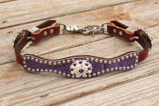 Antique Purple Gator/Chestnut Leather Wither Strap w/AB & Dk. Purple Crystal Rhinestone Concho