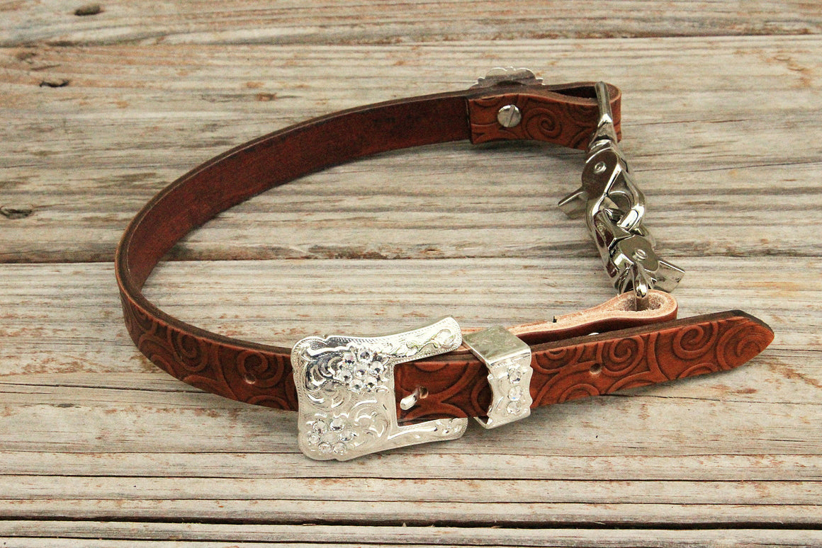 Swirl Embossed Wither Strap w/Clear Crystal  Rhinestone Concho & Buckle