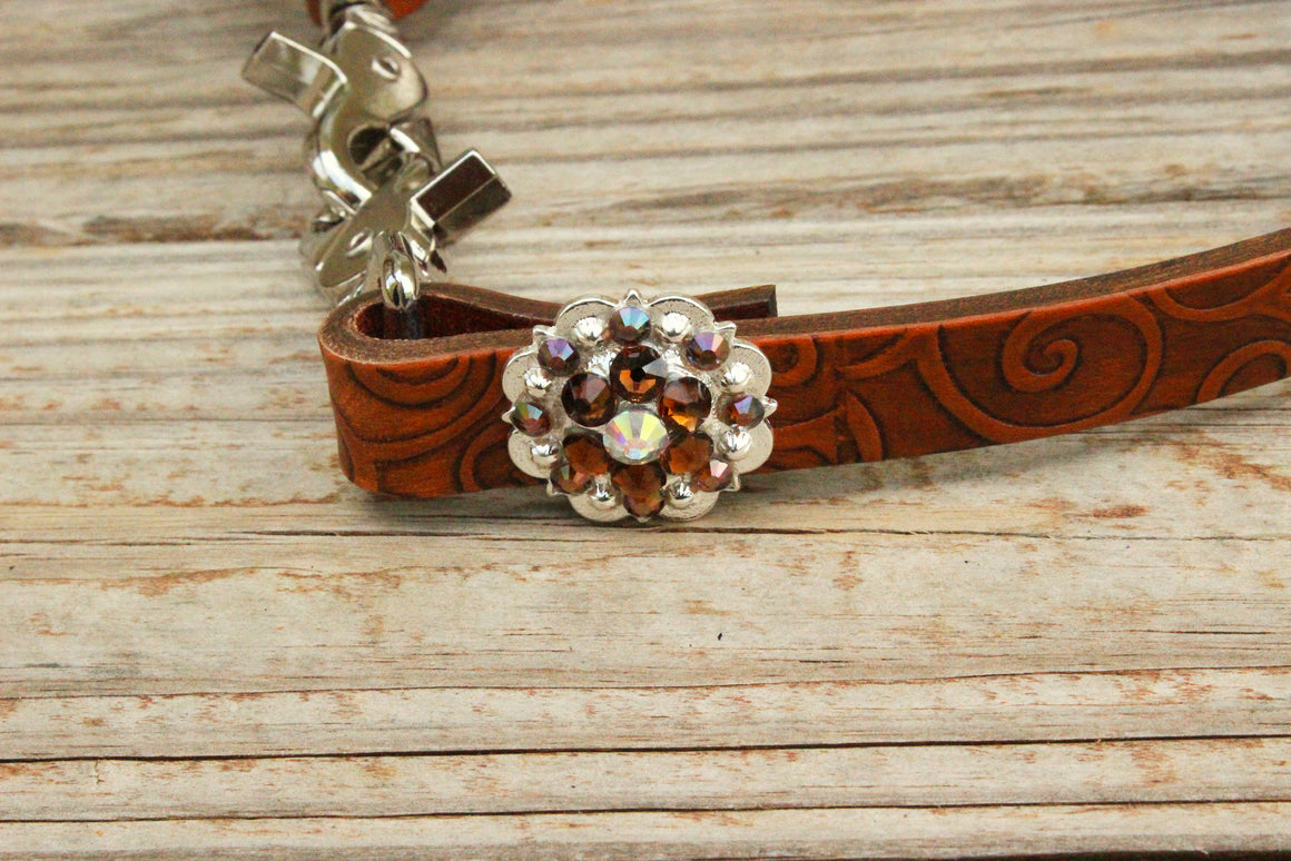 Swirl Embossed Wither Strap w/AB & Smk Topaz Crystal  Rhinestone Concho & Buckle