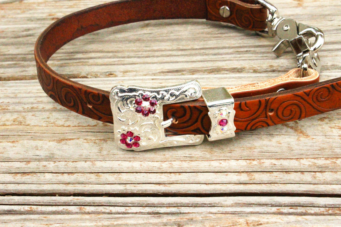 Swirl Embossed Wither Strap w/AB & Fuchsia Crystal  Rhinestone Concho & Buckle