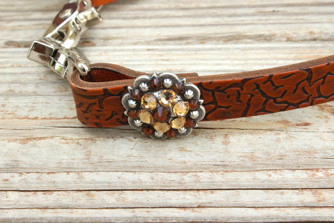 Crackle Embossed Wither Strap w/Cream & Smk Topaz Crystal Rhinestone Concho & Buckle