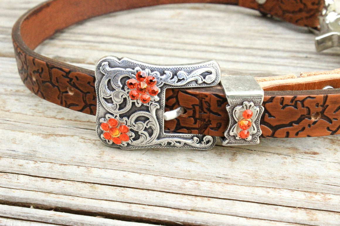 Crackle Embossed Wither Strap w/Fire Opal & Orange Crystal Rhinestone Concho & Buckle