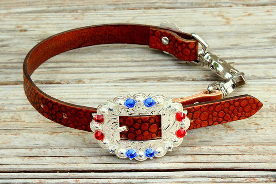 Dot Embossed Wither Strap w/Red, Clear & Sapphire Crystal Rhinestone Concho & Buckle