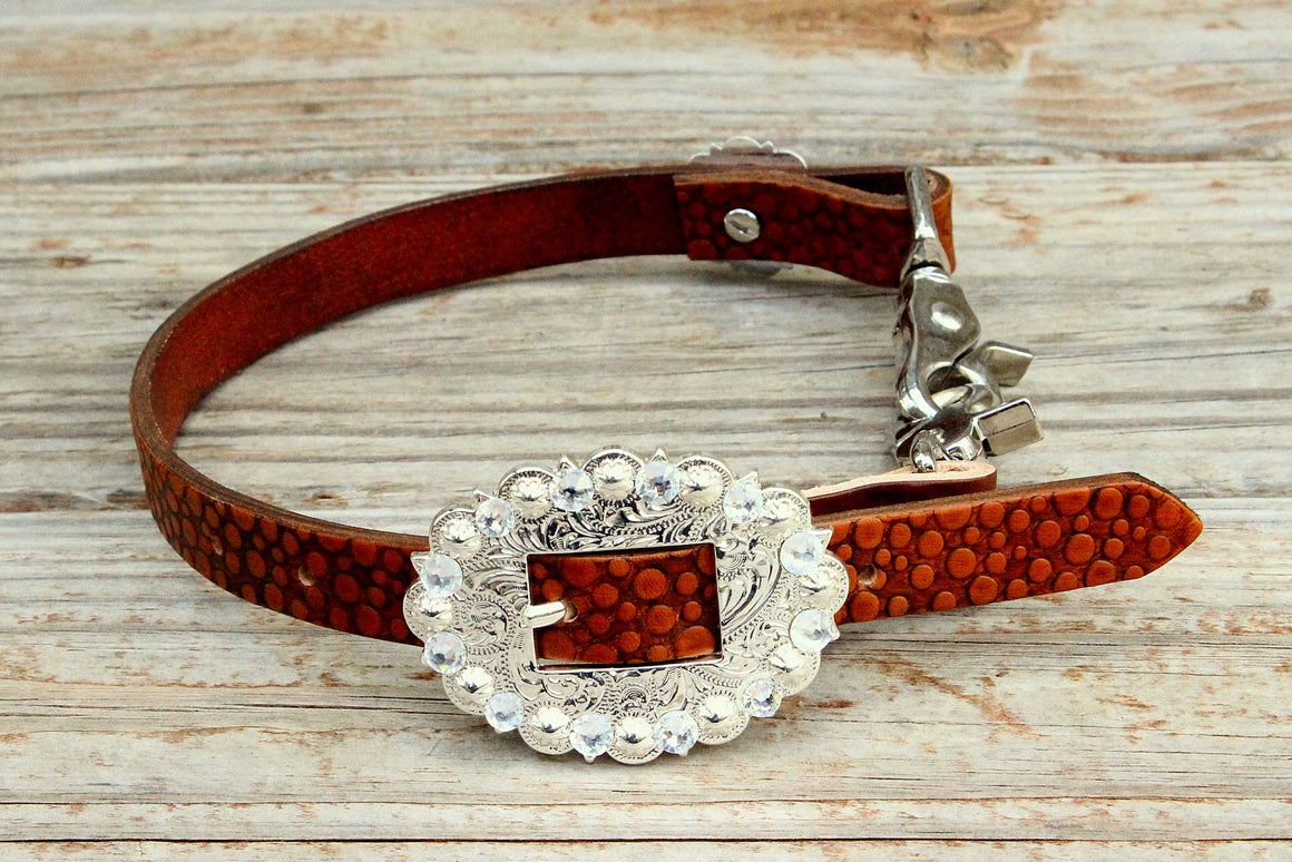 Dot Embossed Wither Strap w/Clear Crystal Rhinestone Concho & Buckle