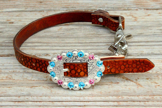 Dot Embossed Wither Strap w/Turquoise & Pink Crystal Rhinestone Concho & Buckle