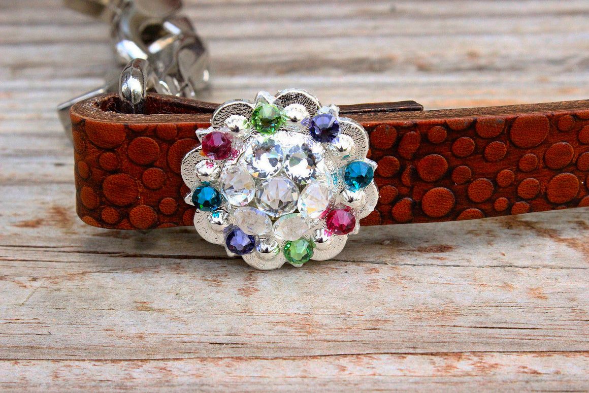 Dot Embossed Wither Strap w/Clear, Pink, Purple, Lime & Teal Crystal Rhinestone Concho & Buckle