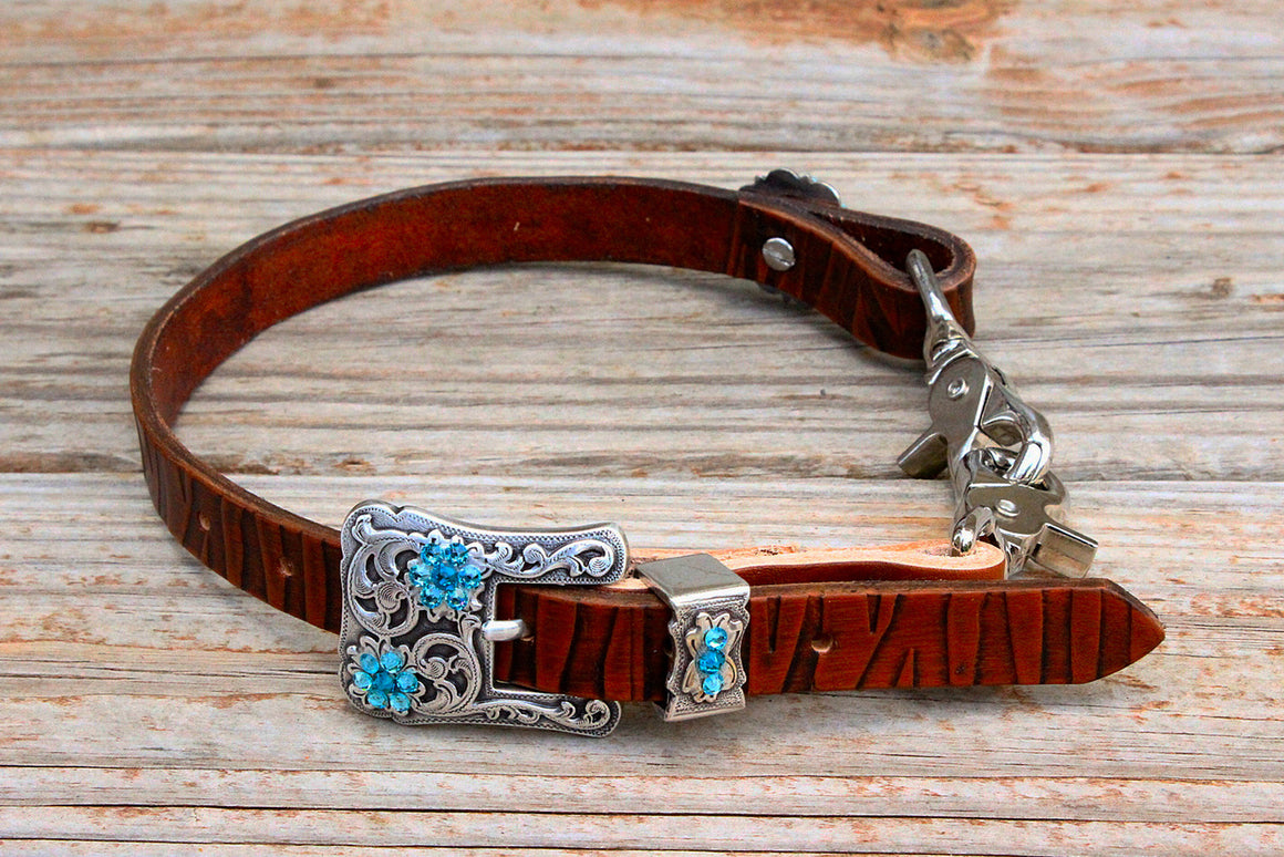 Zebra Embossed Wither Strap w/Teal & Turquoise Crystal Rhinestone Concho & Buckle