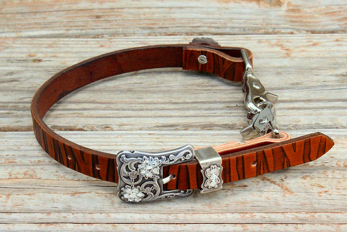 Zebra Embossed Wither Strap w/Clear Crystal  Rhinestone Concho & Buckle