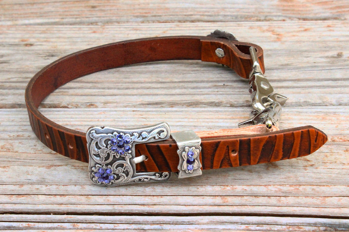 Zebra Embossed Wither Strap w/Purple Crystal Rhinestone Concho & Buckle