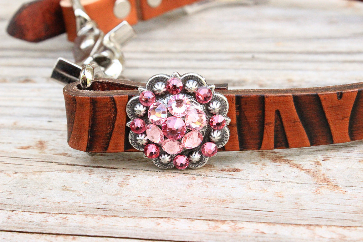 Zebra Embossed Wither Strap w/Pink Crystal  Rhinestone Concho & Buckle