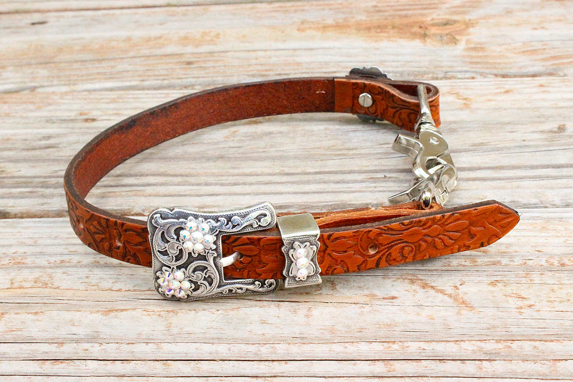 Filigree Embossed Wither Strap w/AB Crystal Rhinestone Concho & Buckle