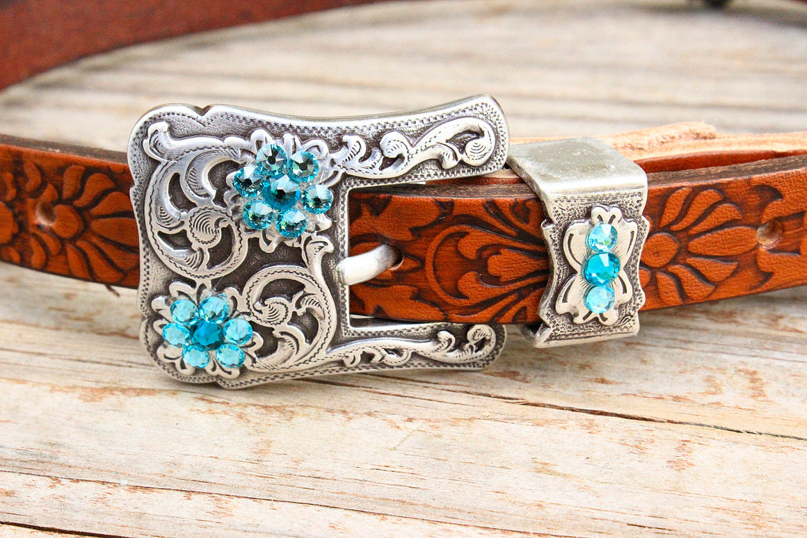Filigree Embossed Wither Strap w/Teal & Turquoise Crystal Rhinestone Concho & Buckle