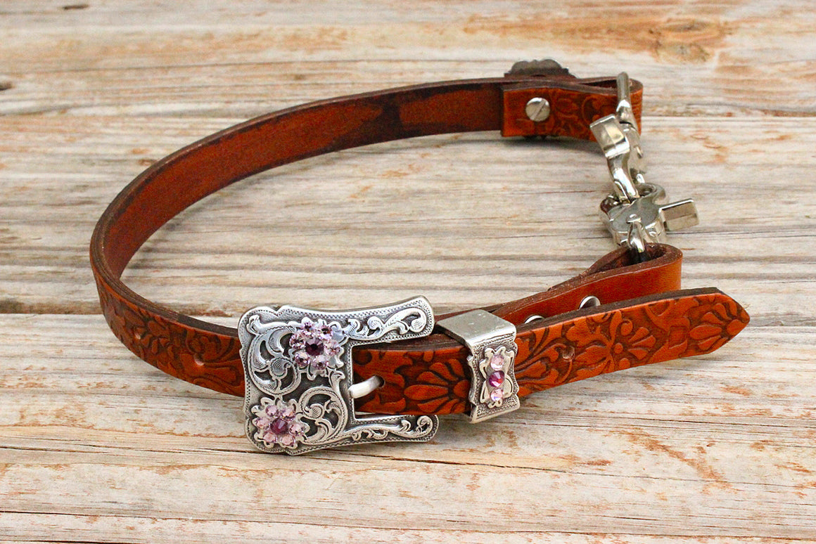 Filigree Embossed Wither Strap w/Amethyst Crystal Rhinestone Concho & Buckle