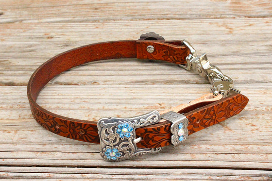 Filigree Embossed Wither Strap w/AB & Aqua Crystal Rhinestone Concho & Buckle
