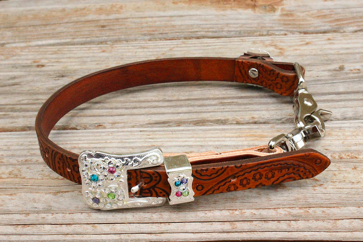 Paisley Embossed Wither Strap w/Clear, Pink, Purple, Lime & Teal Crystal Rhinestone Concho & Buckle