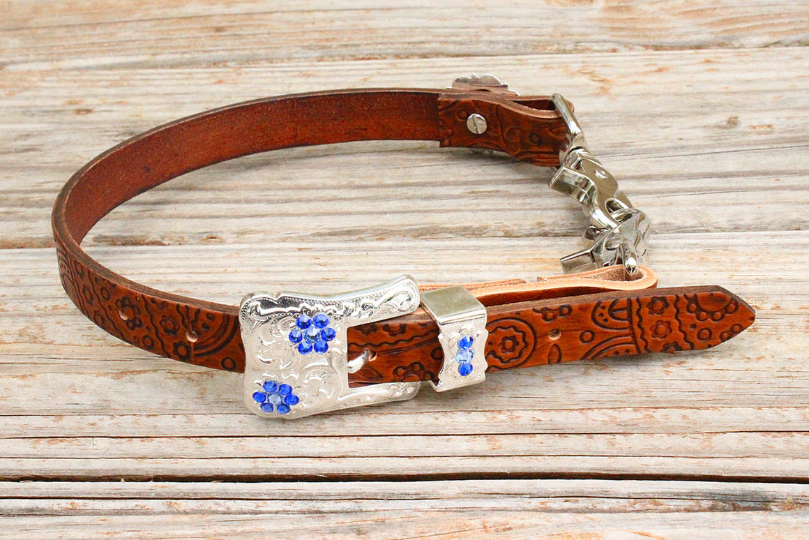 Paisley Embossed Wither Strap w/Sapphire Crystal Rhinestone Concho & Buckle