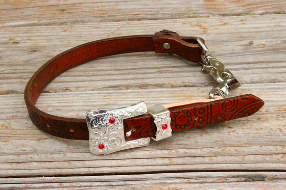 Paisley Embossed Wither Strap w/Red & Clear Crystal Rhinestone Concho & Buckle