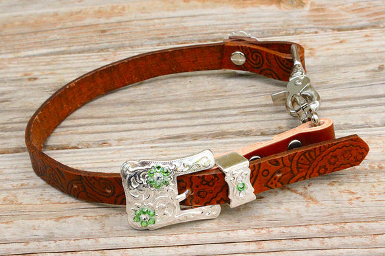 Paisley Embossed Wither Strap w/Lime & Clear Crystal Rhinestone Concho & Buckle