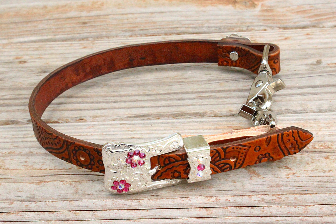 Paisley Embossed Wither Strap w/AB & Fuchsia Crystal Rhinestone Concho & Buckle