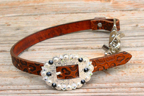 Cheetah Embossed Wither Strap w/Jet & Clear Crystal Rhinestone Concho & Buckle