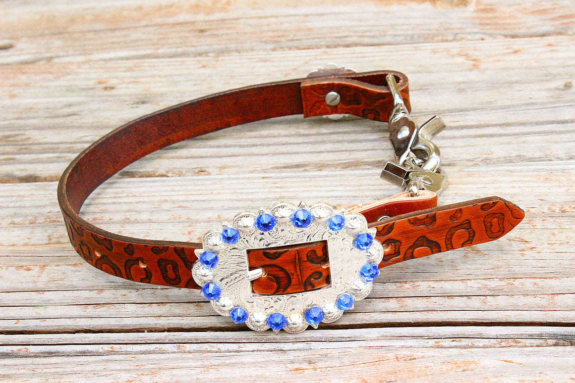 Cheetah Embossed Wither Strap w/Sapphire Crystal Rhinestone Concho & Buckle