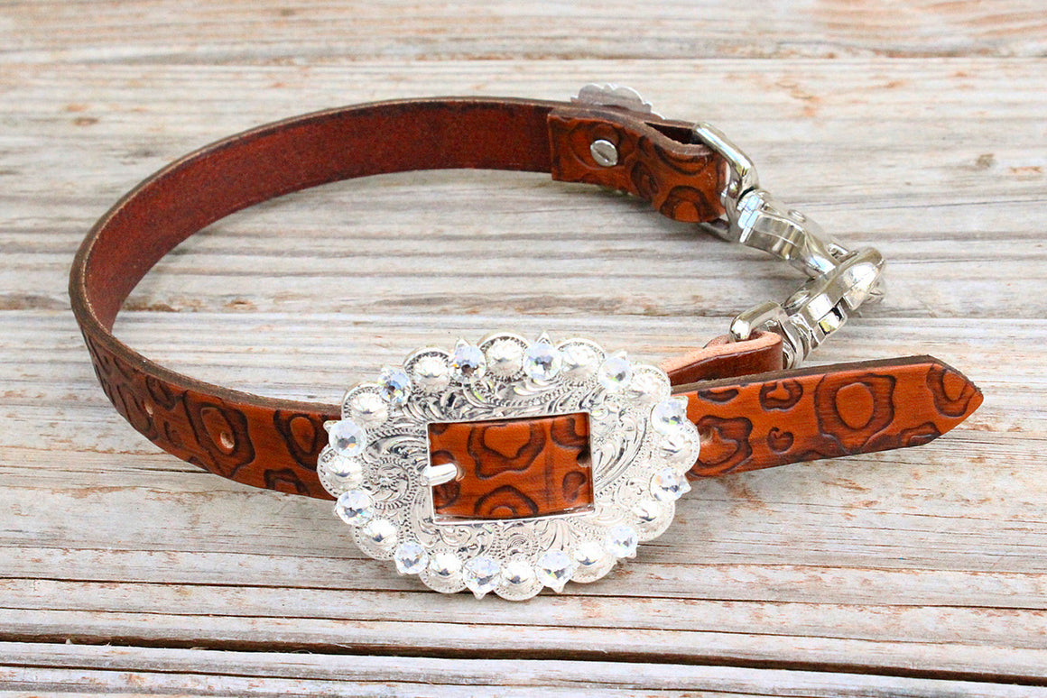 Cheetah Embossed Wither Strap W/clear Crystal Rhinestone Concho & Buckle