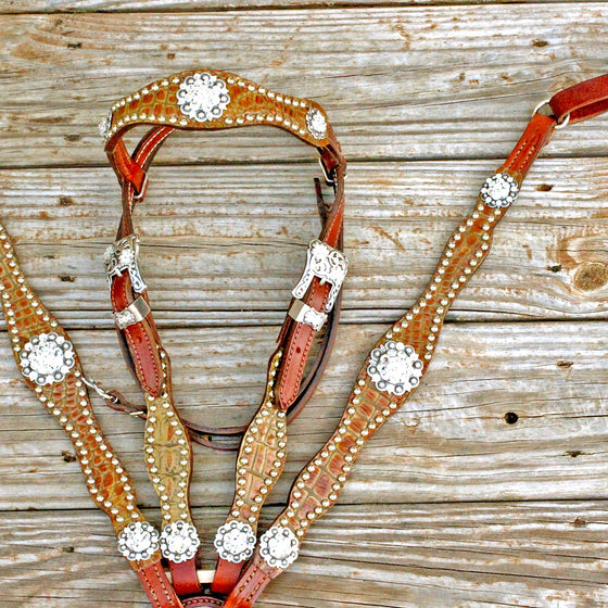 Antique Tan Gator/Chestnut Leather Browband Tack Set w/Clear Crystal Rhinestone Conchos
