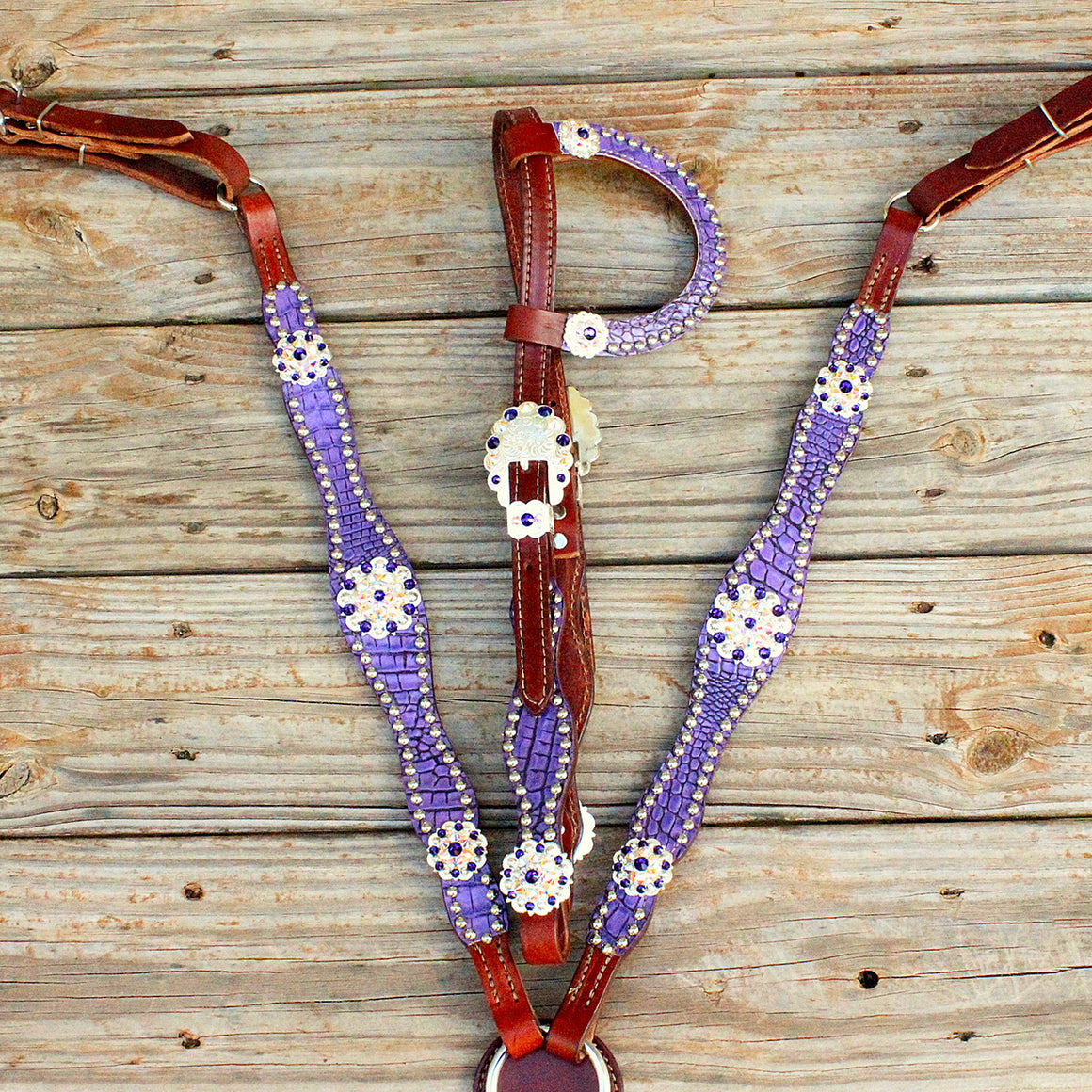 Antique Purple Gator/Chestnut Leather One Ear Tack Set w/AB & Purple Crystal Rhinestone Conchos