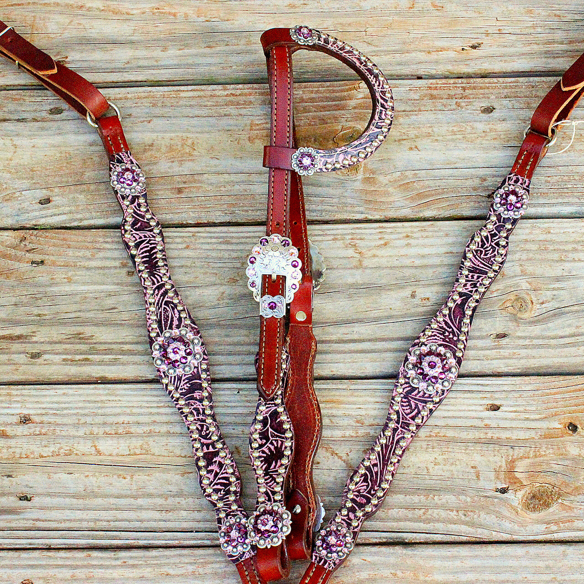 Purple Filigree/Chestnut Leather One Ear Tack Set w/Amethyst Crystal Rhinestone Conchos