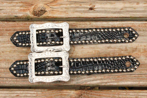 "Black Patent Gator Belt Style Spur Strap w/1.25"" Western Style Buckle"