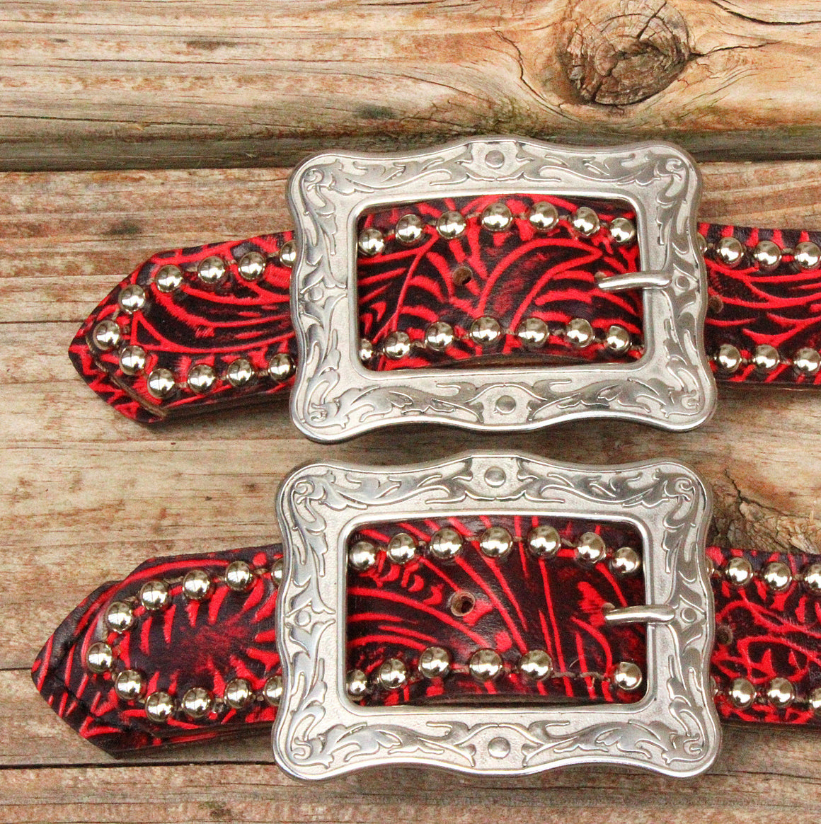 "Red Filigree Belt Style Spur Strap w/1.25"" Western Style Buckle"