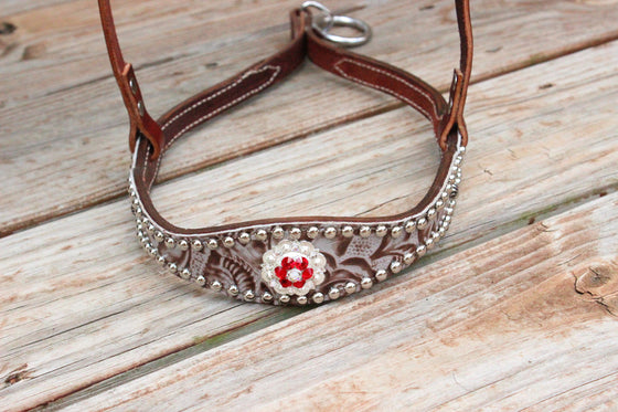 Floral Bone/Chestnut Leather TieDown w/Red & Clear Crystal Rhinestone Concho