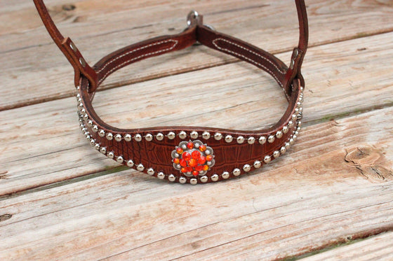 Brown Gator/Chestnut Leather TieDown w/Fire Opal & Orange Crystal Rhinestone Concho