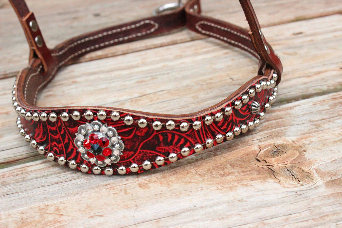 Red Filigree/Chestnut Leather TieDown w/Red, Clear & Black Crystal Rhinestone Concho