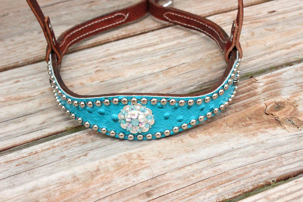Turquoise Ostrich/Chestnut Leather TieDown w/AB & Turquoise Crystal Rhinestone Concho