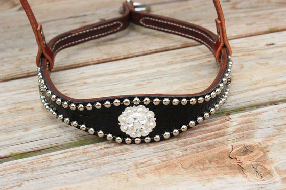 Black Patent Gator/Chestnut Leather TieDown w/Clear Crystal Rhinestone Concho