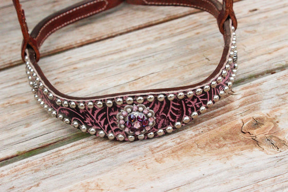 Purple Filigree/Chestnut Leather TieDown w/Amethyst Crystal Rhinestone Concho