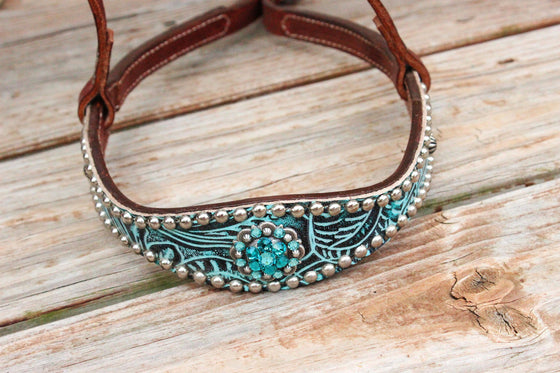 Teal Filigree/Chestnut Leather TieDown w/Teal & Turquoise Crystal Rhinestone Concho