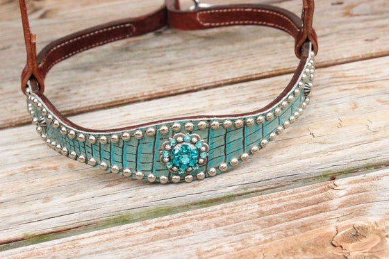 Antique Teal Gator/Chestnut Leather TieDown w/Teal & Turquoise Crystal Rhinestone Concho