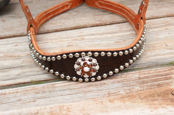 Dk Brown Gator/Tan Leather TieDown w/AB & Smk Topaz Crystal Rhinestone Concho