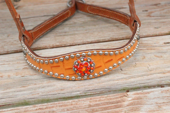 Tangerine Gator/Tan Leather TieDown w/Fire Opal & Orange Crystal Rhinestone Concho