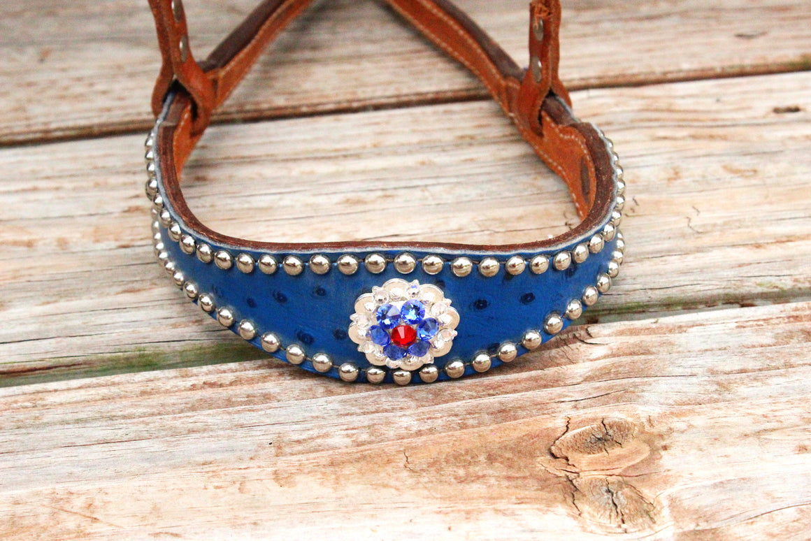 Royal Blue Ostrich/Tan Leather TieDown w/Red, Clear & Sapphire Crystal Rhinestone Concho